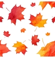 Watercolor painted red autumn maple leaves pattern vector