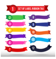 Set of colorful label ribbon tag 013 vector