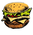 Delicious juicy burger vector