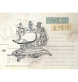 Vintage envelope with old sewing machine vector