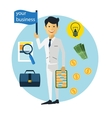 Happy businessman with money and briefcase vector