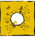 Yellow frame with butterflies vector