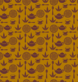 Seamless pattern with tea pots and tea cups vector