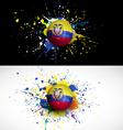 Ecuador flag with soccer ball dash on colorful vector
