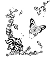 Butterfly flitting over a flower vector