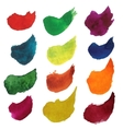 Set of colorful watercolor brush strokes vector