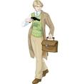 Retro boy with a gun cartoon character vector