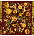Ancient cracked background with floral ornament vector