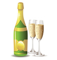 Champagne bottle and two glasses vector