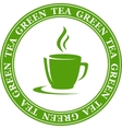 Icon with green tea cup vector