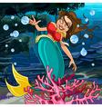 Cartoon mermaid underwater vector