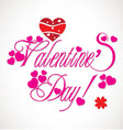 Valentine greetings with heart typography vector