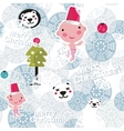 Christmas seamless background with cute baby boy vector