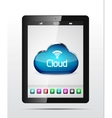 Tablet cloud storage concept vector
