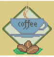 Coffee cup icon on knitted background vector