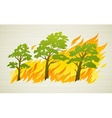 Burning forest trees in fire vector