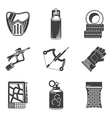 Black icons collection for paintball vector