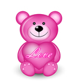 Pink bear with heart vector