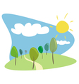 Grove with trees sun and clouds vector
