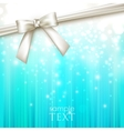 Holiday blue background with white bow vector
