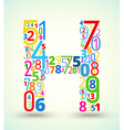 Letter h colored font from numbers vector