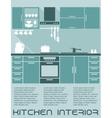 Kitchen flat interior design template vector