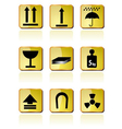 Shipping box icon and signs icons vector