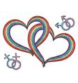 Rainbow hearts with gay symbols vector