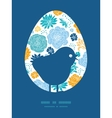 Blue and yellow flowersilhouettes chicken vector