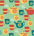 Seamless pattern for kitchen teapots and cups vector