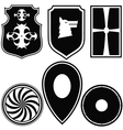 A set of silhouettes of military shields vector