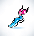 Sneakers with wings outlined sport shoes vector