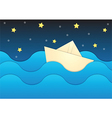 Paper boat on paper sea and night sky background vector