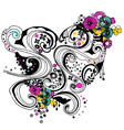 Floral heart scroll decorative pattern vector