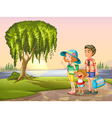 Man woman and kid standing around tree vector