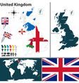 United kingdom map with regions and flags vector