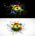 Ghana flag with soccer ball dash on colorful vector