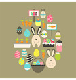 Easter holiday flat icons set over brown vector