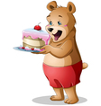 Young bear holding a cake vector