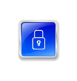 Lock icon on blue button vector