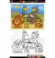 Cartoon wild animals coloring page vector