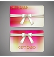 Gift cards with white bows and ribbons vector