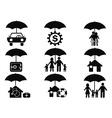 Black insurance icons set with umbrella vector