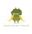 Frog with head in form of australian map vector