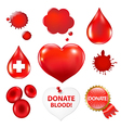 Big collection with blood drop and heart vector