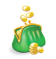 Gold coins fall into a green purse vector
