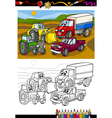 Cartoon cars and trucks for coloring book vector