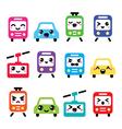 Kawaii cute icons - car bus train tram vector