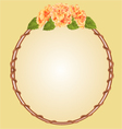 Round frame with yellow hibiscus greeting card vector