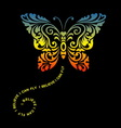 Butterfly floral ornament decoration vector